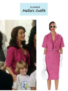 """On the blog: Mellie's (Bellamy Young) pink tweed dress & jacket 