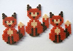 Kawaii Cute Hama/Pearler Bead Foxes  Pack of 10 by Pelemele, £5.00