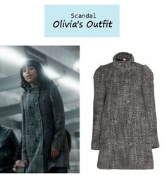 "On the blog: Olivia Pope's (Kerry Washington) gray tweed funnel neck coat | ""Guess Who's Coming to Dinner"" (Ep. 302) #tvfashion #tvstyle #gladiators #falltv #fashion #outfits #fallfashion"