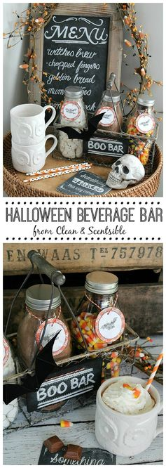 Halloween Beverage Bar.| Clean & Scentsible - Featured at the #HomeMattersParty 57