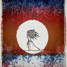 Portal, 2015 Drypoint on Monoprint, 5 x 7 Yolanda Cotton Turner [Red Dot] ______________________ #fineart #printmaking at #ArteryPress #PrintmakingSermons #PaSS inside #Jingletown #ArtStudios #JAS...