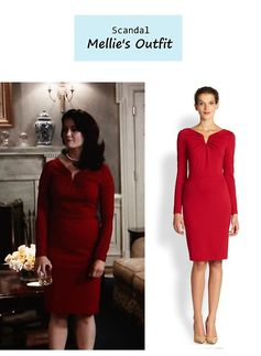 "On the blog: Mellie's (Bellamy Young) long sleeved red dress | Scandal - ""Everything's Coming Up Mellie"" (Ep. 307) #tvstyle #tvfashion #outfits #fashion"