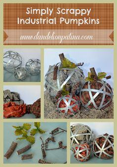 Simply Scrappy Industrial Pumpkins | Dandelion Patina - Highlighted at the #HomeMattersParty 56