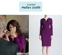 """On the blog: Mellie's (Bellamy Young) purple gathered neck dress in purple 