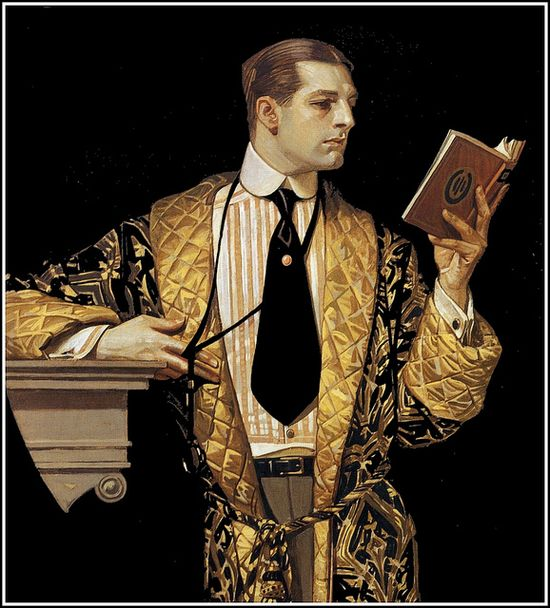 J.C. Leyendecker 'The Arrow Collar Man reading book' 1916 by Plum leaves (in), via Flickr