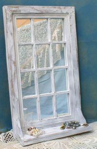 Shabby White Upcycled Vintage Window Frame Style Mirrored ...