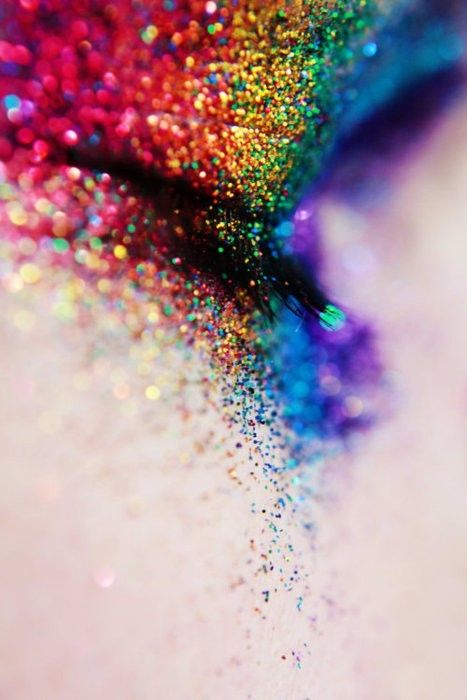rainbow glitter eyes makeup  Pinterest