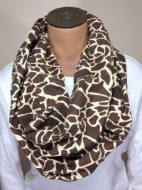 Giraffe Scarf, Giraffe Print Cotton Infinity Scarf
