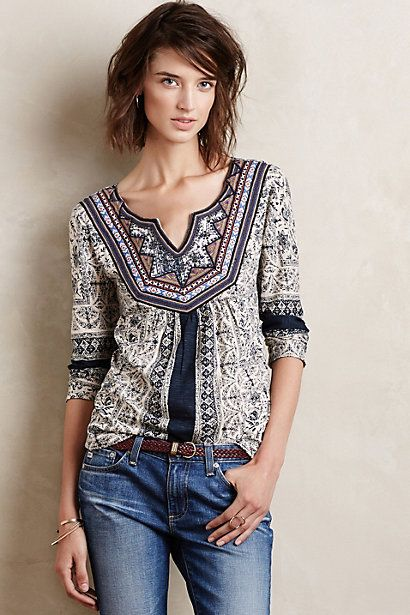 Silverpoint Peasant Top #anthrofave #anthropologie