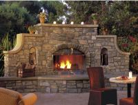 stone wall outdoor fireplace | Gardening Ideas | Pinterest