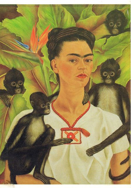 Frida Kahlo selfportrait with monkeys Art Pinterest