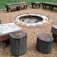Cut up fallen tree= fire pit seats | Camping and Outdoor ...