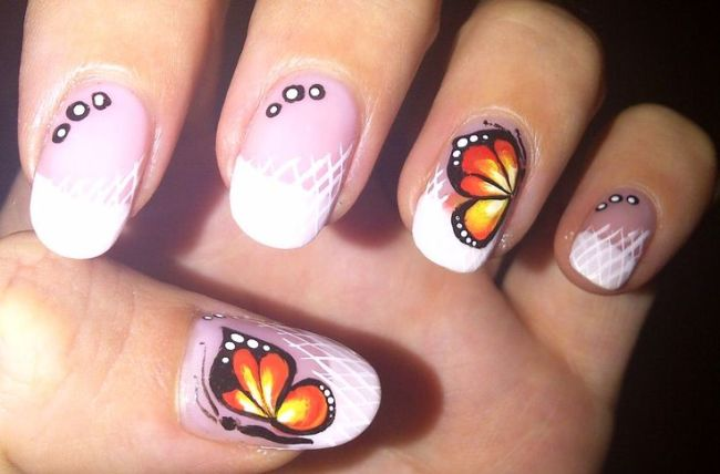 French Manicure Nail Designs Butterfly