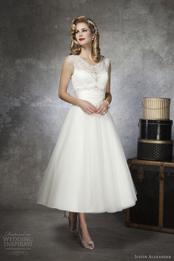 justin alexander bridal 2013 tea length wedding dress