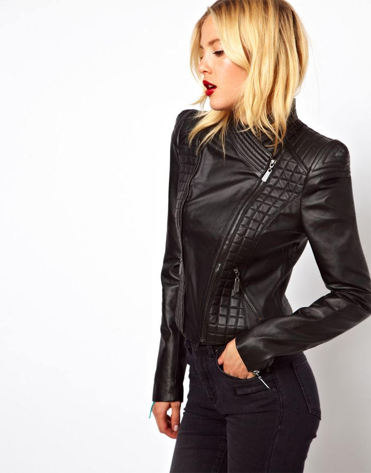 ASOS Structured Sleeve Leather Jacket