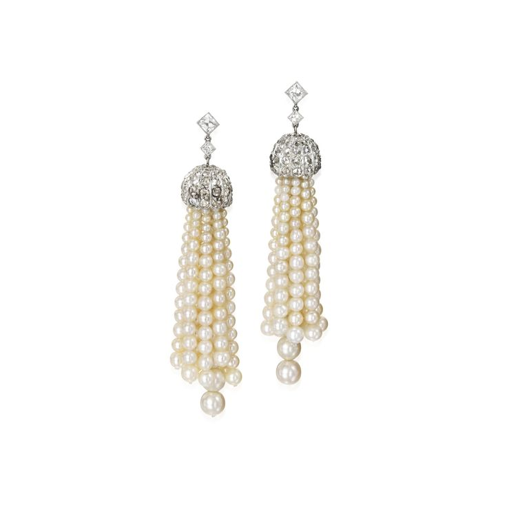 Pair of Platinum, Natural Pearl and Diamond Earrings | Lot | Sotheby's