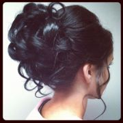 cute curly hair bun wedding