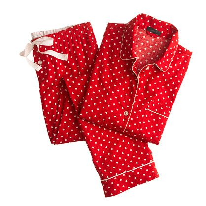 Pajama set in polka-dot flannel : Womens | J.Crew