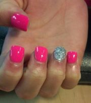 neon pink with bling painted acrylic