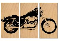 Vintage HARLEY MOTORCYCLE - Screen Print - Wood Painting ...
