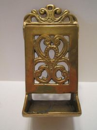 Vintage Brass Match Box Holder with Striker