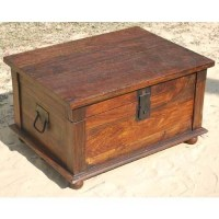 Distressed Rustic Solid Wood Storage Box Trunk Coffee ...
