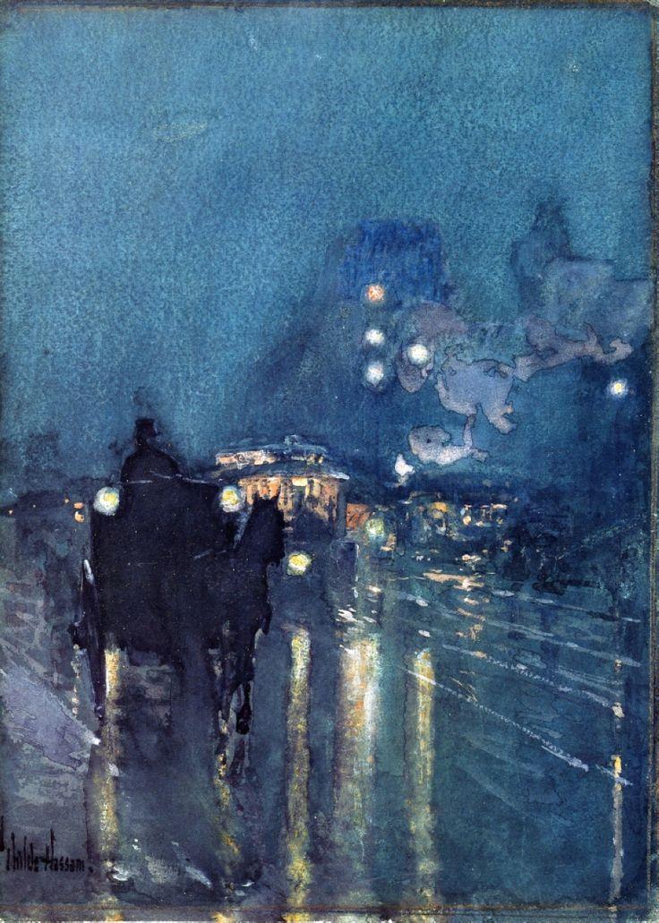 Childe Hassam - Nocturne, Railway Crossing, Chicago, 1892-1893