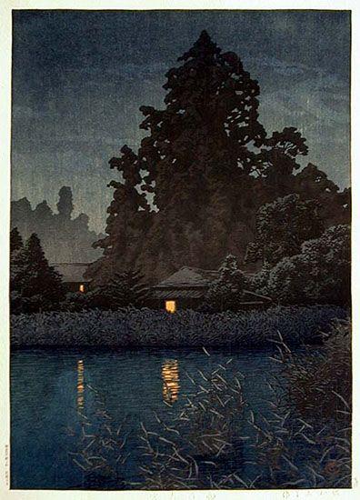 Hasui Kawase, Rain at Omiya, 1930