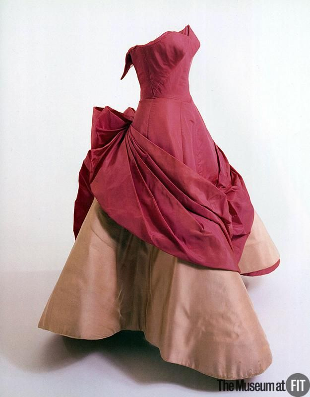 ~Rose Clover dress c1953. Designer: Charles James 1906-1978 Medium: Pink silk taffeta, silk satin, and boning~