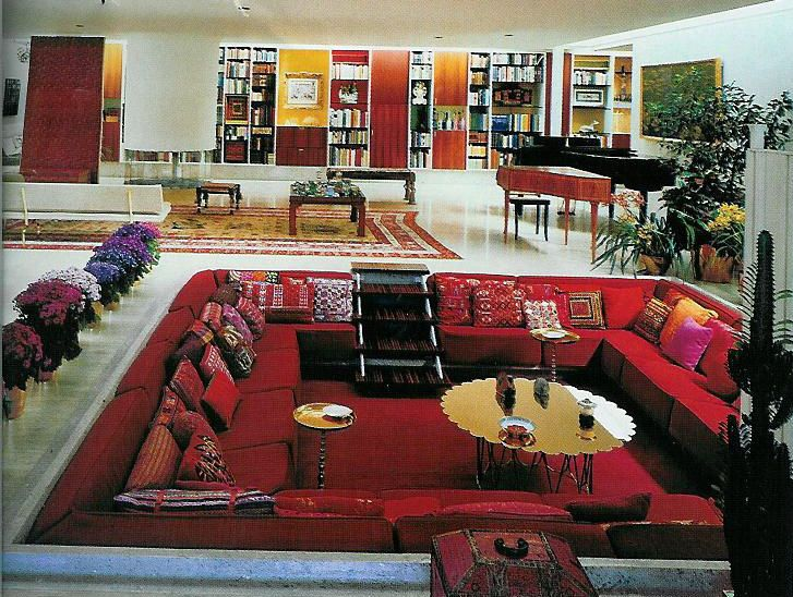living rooms with brown couches how to decorate a room black leather sectional sunken | my 70s pinterest