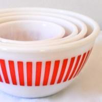 Hazel Atlas Mixing Bowl Set of 4 - Red Candy Stripe