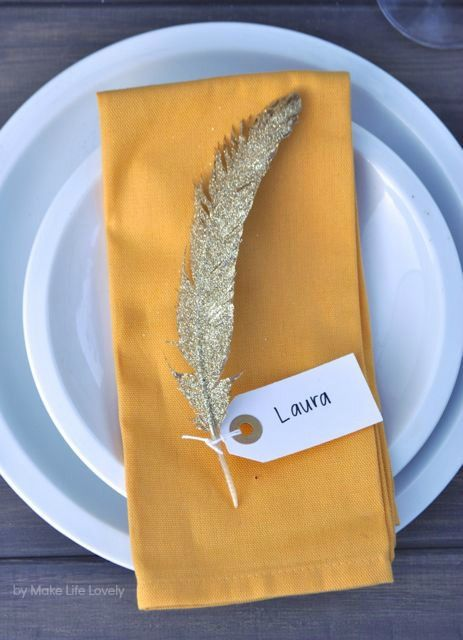 Gold Glittered Feather Thanksgiving Name Cards - from Martha Stewart and Make Life Lovely
