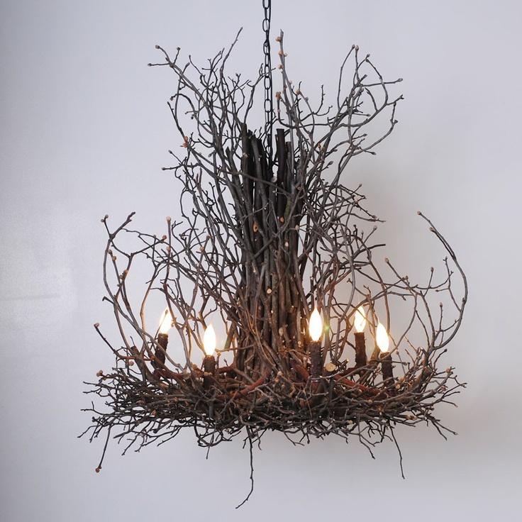 Natural Light Twig Chandelier