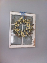 Antique window frame and wreath | Decorating Ideas | Pinterest