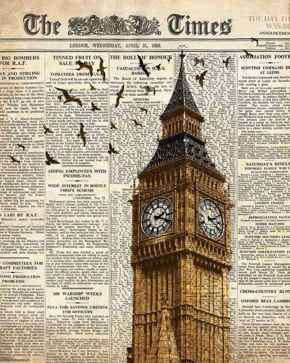 Big Ben and birds on newspaper. London.
