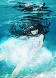 anime girl underwater illustrations