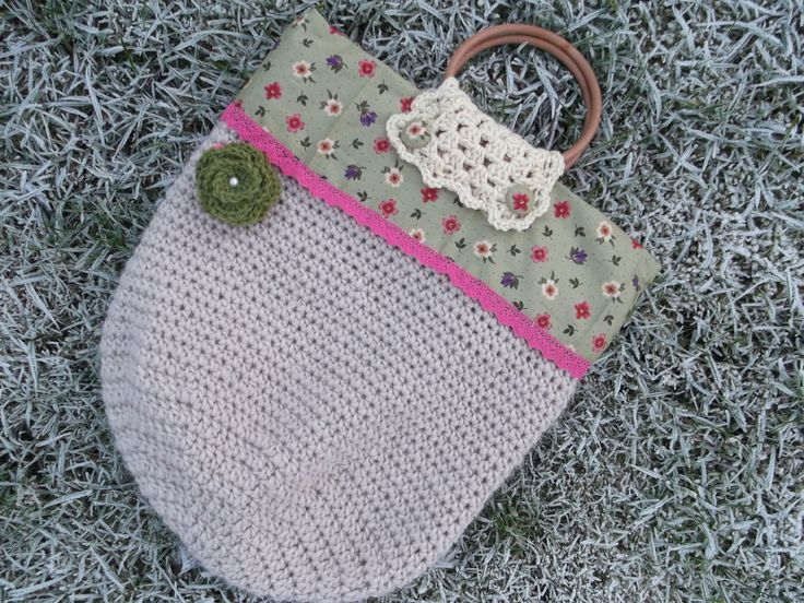 Vintage print crochet tote with flower brooch