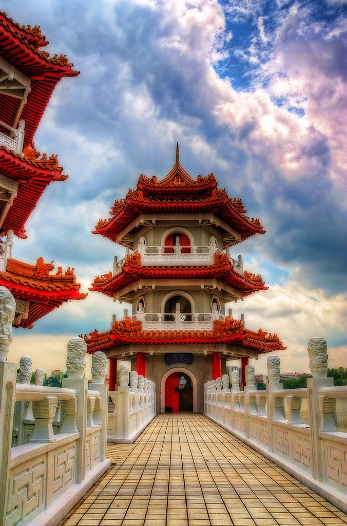 Pagodas at the Chinese Garden in Singapore