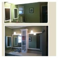 Border around bathroom mirror | centerpieces | Pinterest