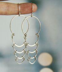 Unique chandelier earrings - modern sterling silver long ...