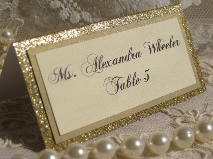Gold Glitter Tented Place Cards