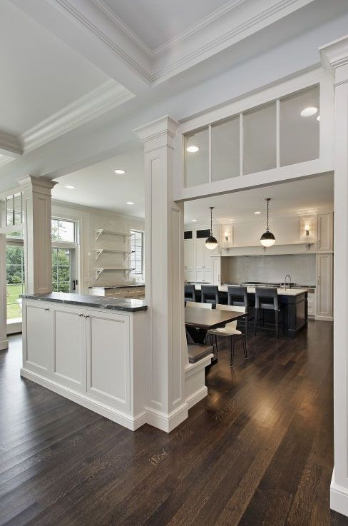 kitchen halfwall  bench  kitchens  Pinterest