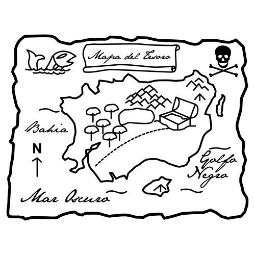Treasure Map Coloring Page Sketch Coloring Page