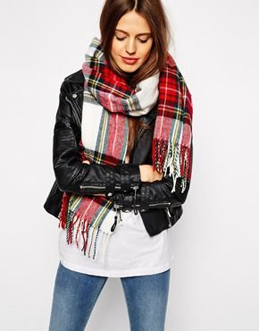 Enlarge ASOS White Tartan Check Scarf