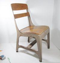 Vintage Childs School Chair Wood Metal