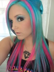blue pink scene hair long layers