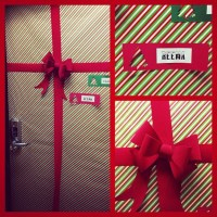 dorm room door decorated like a present. | College Living ...
