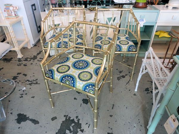 Faux Bamboo BRASS Chairs for the Game Room :)