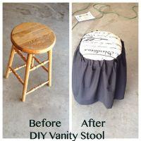 DIY vanity stool from old bar stool   DIY furniture ...