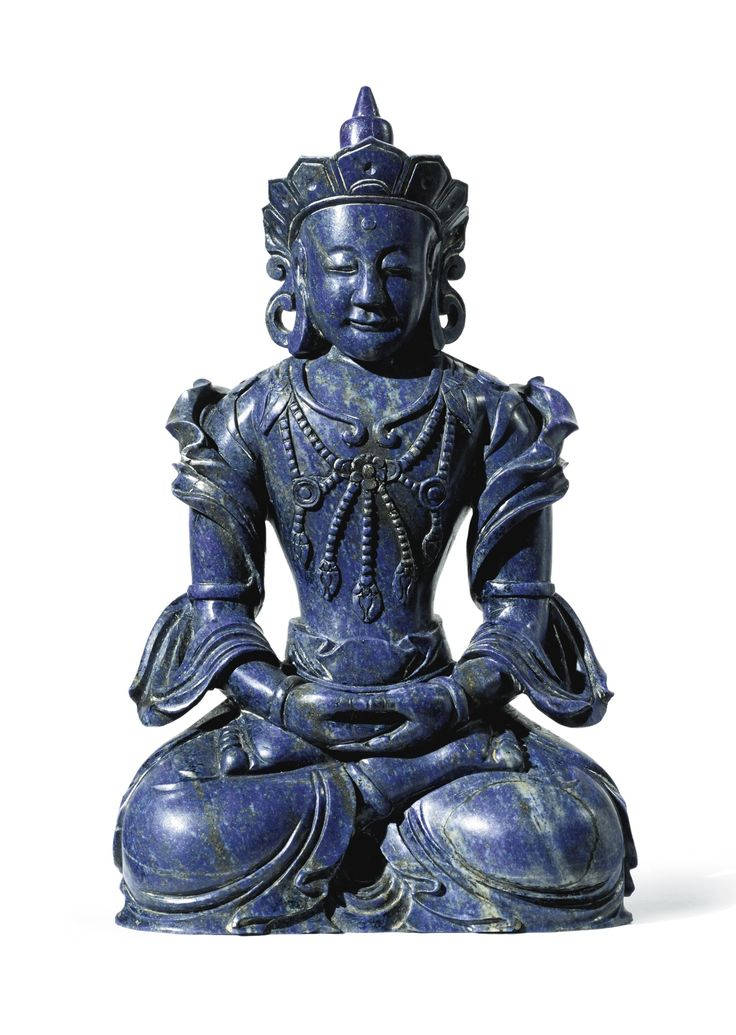 A lapis lazuli figure of Amitayus, China, Qing dynasty, Qianlong period